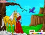 لعبة تلوين الاميرة و الحصان